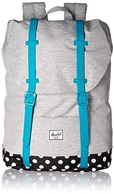 Herschel Kids' Retreat Backpack, Light Grey Crosshatch/Tile Blue/Mini Polka Dot, Youth