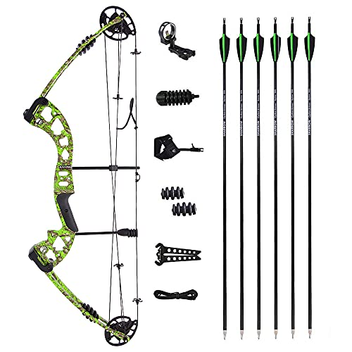 AMEYXGS Compound Bow and Arrow Set Draw Weight 30-55lbs Draw Length 24'-29.5' Adjustable Aluminum Right Hand Composite Bow for Adult (Green Bow Set)