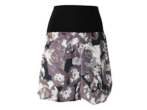dunkle design Damen Ballonrock Jeansrock Jeans Farbe Midi oder Knielang nach Wahl (52cm Grau Weiß, M 40/42)