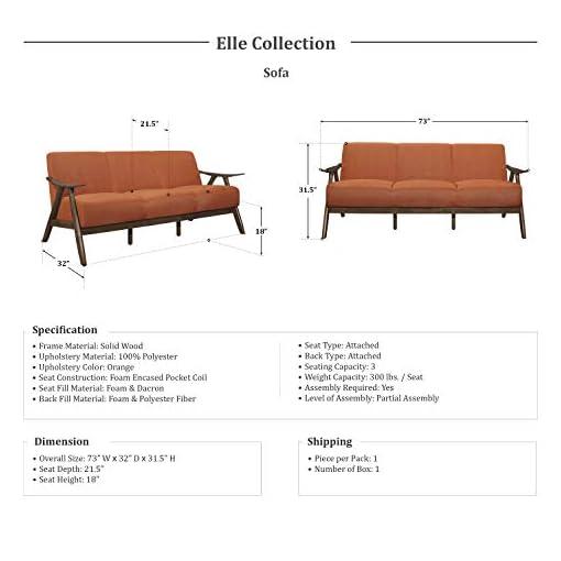 Farmhouse Living Room Furniture Lexicon Elle Sofa, Orange farmhouse sofas and couches