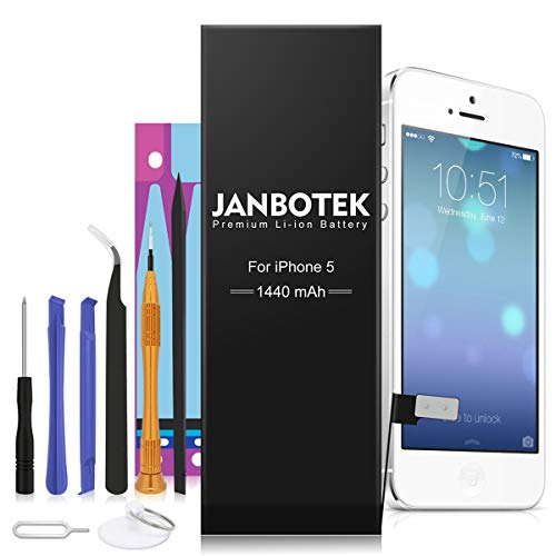 JANBOTEK Replacement Battery Compatible for iPhone 5 - Repair Kit with Tools, Adhesive - New 1440 mAh 0 Cycle Battery - 24-Month Warr