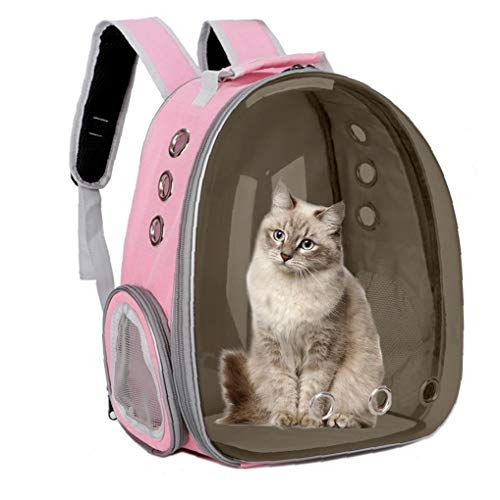 Double Shoulder Portable Breathable Pet Carrier Backpack for Cats Dogs Outdoor Travel Pink
