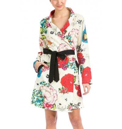 Desigual Housecoat Lovely Garden Bata de casa, Anis Flower, S/M para Mujer