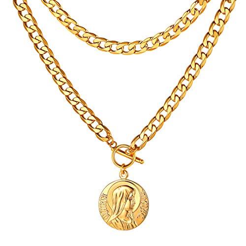 FaithHeart Moneda Circular Santa Virgen María Collar Religioso Acero Inoxidable Oro para Cuello Joyería de Moda