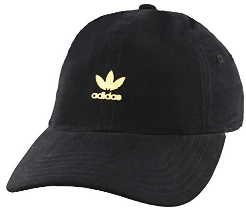adidas Originals Women's Relaxed Metal Strapback Cap, Black/Gold, ONE SIZE
