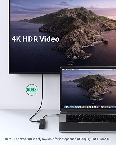 CableCreation USB C Hub Multiport Adapter, 8-Port Typ C Hub mit 4K@60Hz HDMI, 100W PD, RJ45, SD/TF-Kartenleser, 2 USB 3.0-Anschlüsse, für MacBook Pro 2020/2019, MacBook Air 2020, iPad Pro 2020/2018