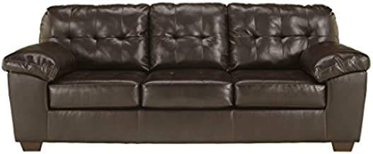 Signature Design by Ashley - Alliston Contemporary Faux Leather Sleep Sofa - Queen Size, Chocolate