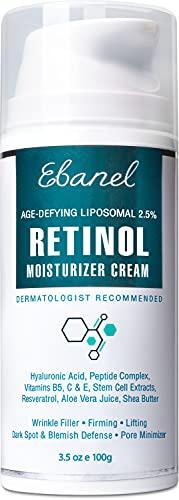 Ebanel Liposomal 2.5% Retinol Cream for Face with Hyaluronic Acid, Peptides, 3.5 Oz Pore Minimizer Skin Tightening Anti Wrinkle Cream for Face, Minimizes Fine Lines, Dark Spots, Age Spots, Acne Scars