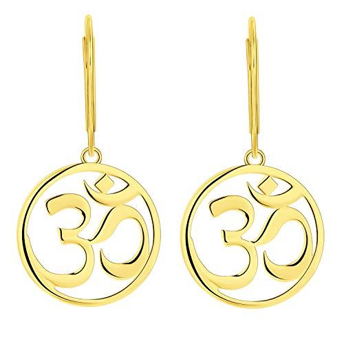 JO WISDOM Mujer Pendientes Yoga Indien Aum Om Ohm de plata de ley 925 con baño de oro amarillo