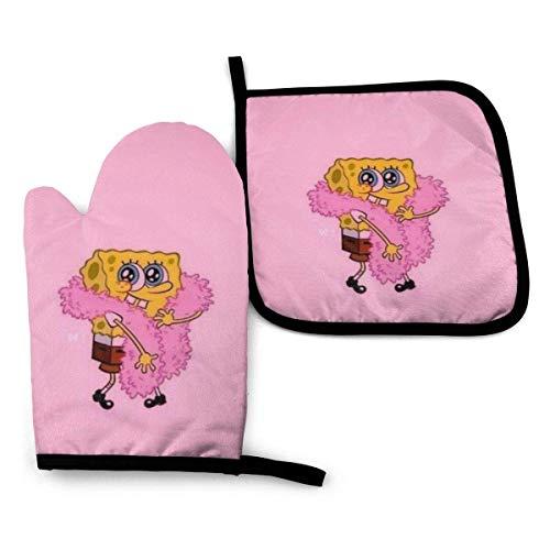 shenguang Spongebob Be Yourself - Juego de manoplas y soporte para ollas, resistentes al calor, guantes seguros para barbacoa, hornear, cocinar