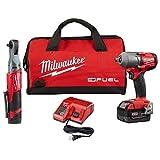 Milwaukee Electric Tools 2591-22 M12 Fuel 3/8' RATCHET/M18 Fuel 1/2' Midtorque Kit
