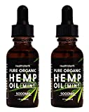(2 Pack) 5000mg, Pure Organic Extract for Anxiety and Stress Relief, Clear Minds, Sleep Well, Boost Immunity,Reduce Inflammation - Hemp Oil, 1oz per Bottle, Mint - Vegan Friendly, Made in USA
