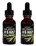 (2 Pack) 5000mg, Pure Organic Extract Hemp Oil, Clear Minds, Sleep Well, Boost Immunity, Reduce Inflammation - Hemp Oil, 1oz per Bottle, Mint - Vegan Friendly, Made in USA