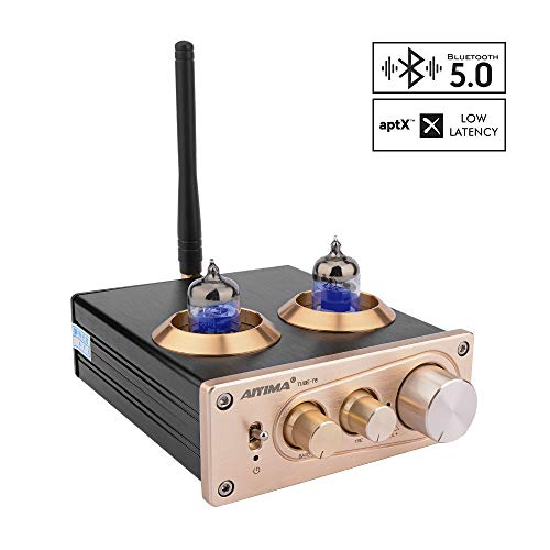 AIYIMA 6J1 Tube Preamp Bluetooth 5.0 HiFi Stereo Preamplifier AUX APTX with Treble Bass Tone Control Home Sound Audio System