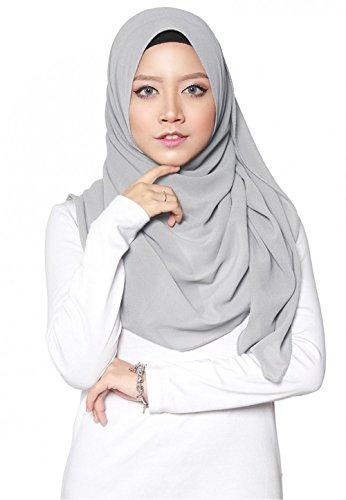 SAFIYA SAFIYA - Hijab Kopftuch für muslimische Frauen I Islamische Kopfbedeckung 75 x 180 cm I Damen Gesichtsschleier, Schal, Pashmina, Turban I Musselin / Chiffon - Hellgrau