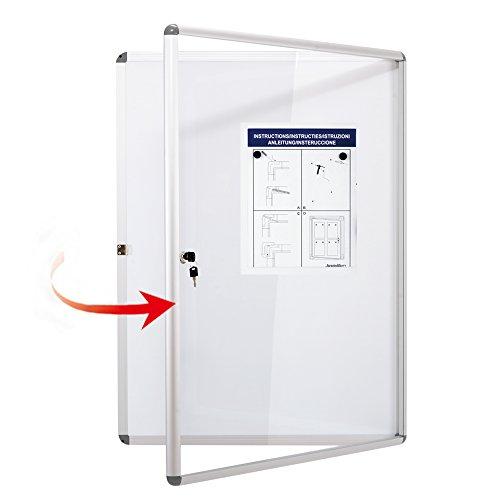 SwanSea Tablero de avisos bloqueable Tablero magnético 4xA4 Pizarra seca Borrar Tablas de Bullentin Intimidad