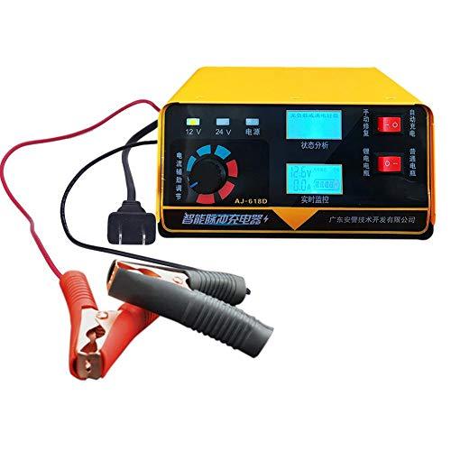 ATpart Cargador de batería de Coche de Motocicleta 12V 24 V Cargador y mantenedor de batería de Coche, Rescate y recuperación de baterías