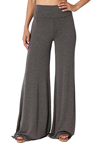 TheMogan Women's Comfy Soft High Waisted Wide Palazzo Lounge Pants Charcoal 1XL