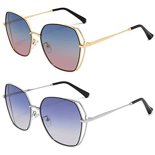 HFSKJ Pack de 2 Gafas de Sol, Gafas de Sol polarizadas Gafas Retro de Metal con Montura Grande Las Gafas Populares Son adecuadas para Hombres y Mujeres,D
