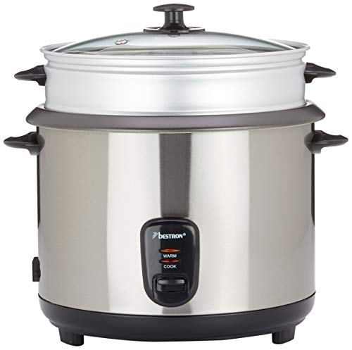 Bestron Großer Reiskocher mit Dampfgar-Aufsatz und Warmhalte-Funktion, 2,8 Liter, 1000 Watt, Edelstahl
