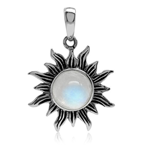 Silvershake Natural Moonstone 925 Sterling Silver Sun Ray Inspired Solitaire Pendant