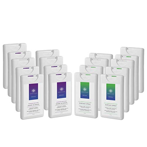 Dermaglove Sanitizing Travel Kit. Includes Surface Spray (Qty 9) and Hand Science (Qty 9). Total 18 Travel Size.
