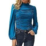 Camiseta Ajustada Plisada con Cuello Alto Y Manga Larga De Linterna De Color SóLido Informal para Mujer para Mujer