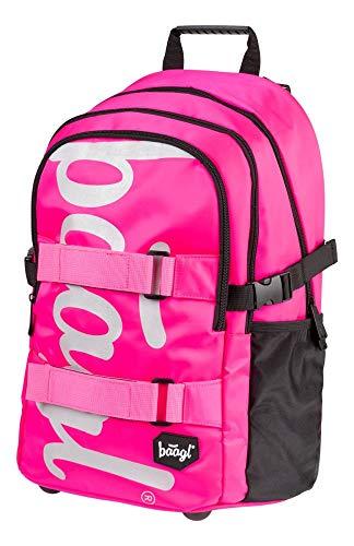 Baagl Schulrucksack für Mädchen Teenager - Skateboard Rucksack - Kinderrucksack mit Laptopfach und Brustgurt für Schule (Pink)
