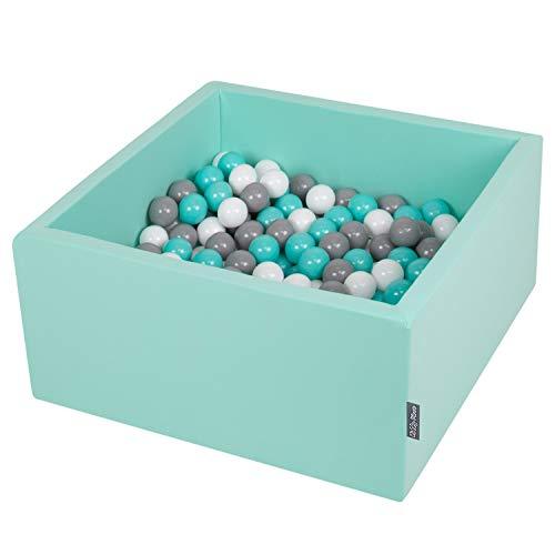 KiddyMoon 90X40cm/200 Balles ∅ 7Cm Carré Piscine À Balles pour Bébé Fabriqué en UE, Menthe : Blanc/Gris/Turquoise Clair