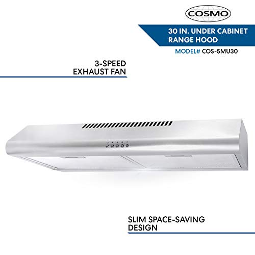 Cosmo 5MU30 30 in. Under Cabinet Range Hood with Ducted / Ductless Convertible Duct in Stainless Steel