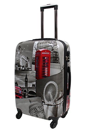 Lightweight 4 Wheel Hard Shell PC London Printed Luggage Set Suitcase Cabin Travel Bag (Medium 25')