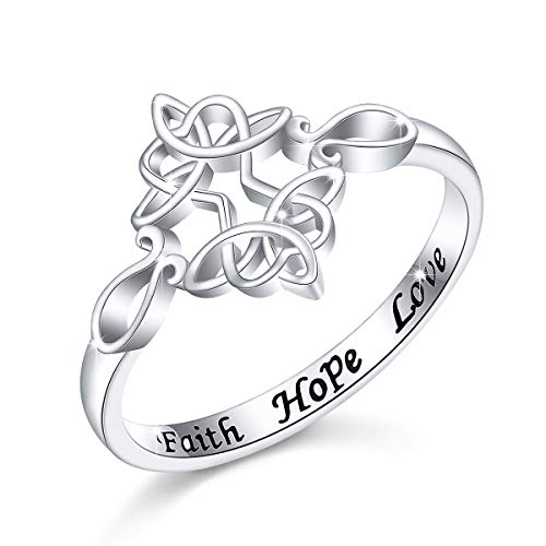 Inspiraional Jewelry Sterling Silver Engraved Faith Hope Love Celtic Cross Ring, Size 6