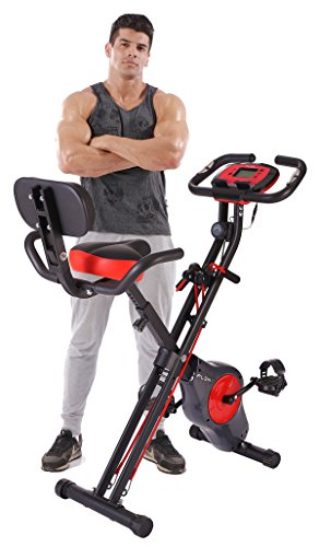PLENY Folding Fitness Exercise Bike with Resistance Bands, 16 Level...
