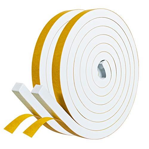 Selbstklebendes Schaumstoffband 12mm(B) x10mm(D) Dichtungsband selbstklebend Fenster-Türdichtung kochheld, Gummidichtung für Kollision Siegel Schalldämmung Gesamtlänge 4m (2 Rollen je 2m lang) Weiß