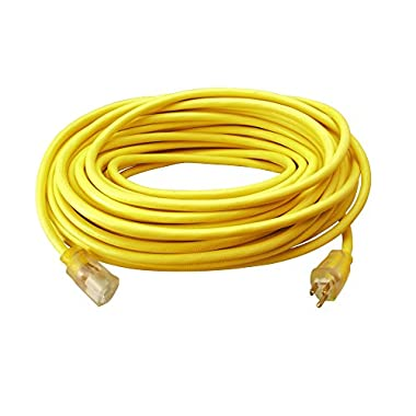 Southwire 2588SW Outdoor Extension Cord- 12/3 American Made SJTW Heavy Duty 3 Prong Extension Cord- Great for Commercial Use, Gardening, and Major Appliances (50 Foot- Yellow)