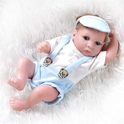 HWZZ Reborn Baby Doll 26Cm, Die Echt Lebensecht Aussieht Weiches Silikon Vinyl Reborn Kleinkind Blue Eyes Mädchen Geburtstagsgeschenk Jungen Mädchen Spielzeug,26cm