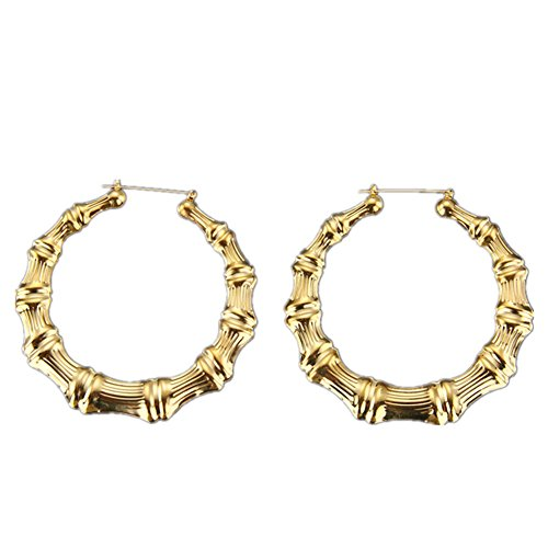 ODN Large Bamboo Earrings Hip-Hop Gold Color Ladies Hoops Bling Circle (Round)