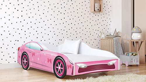 Kinderbett Autobett Jugendbett 70x140 80x160 80x180 Weiß mit Rausfallschutz Matratze und Lattenrost Kinderbetten für Mädchen und Junge - 140x70 - Rosa
