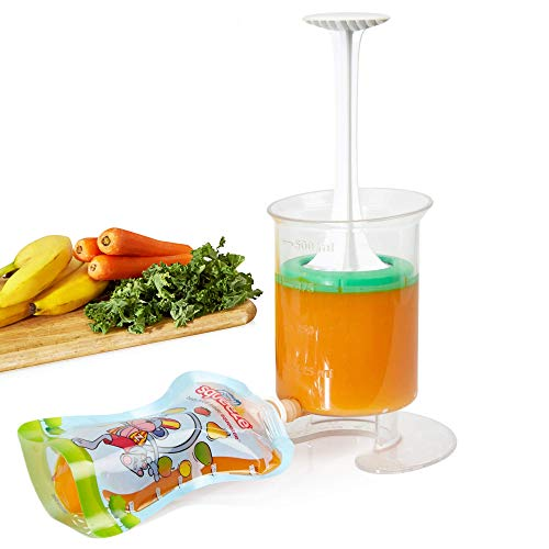 Fill n Squeeze Baby Food Maker & Reusable Pouches - Homemade Baby Food, Toddler Snacks, Freezer & Microwave Safe - Baby Pouch Maker for Easy Food Storage