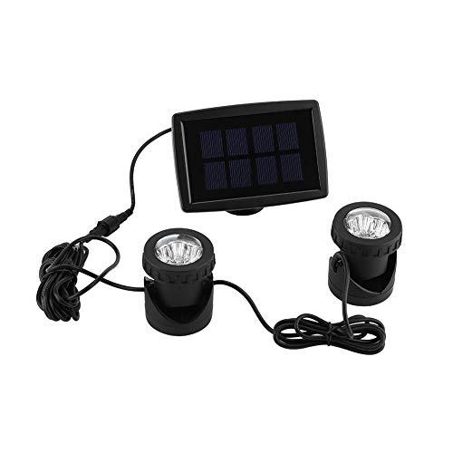 GOTOTOP LED Teichbeleuchtung, Solar Teichbeleuchtung mit 12 LED, IP 68 Wasserdicht, 2 Köpfe LED Unterwasserleuchten für die Beleuchtung von Unterwasser, Teich, Garten und Hof