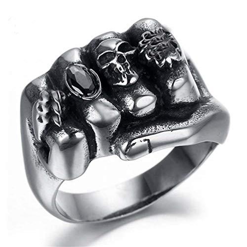 HQLCX Skull Uomini Anello Moda Gotica Fiore dell'Acciaio Inossidabile del Cranio del Motociclista di Titanio Anarchia Morte Pugno Anello,8