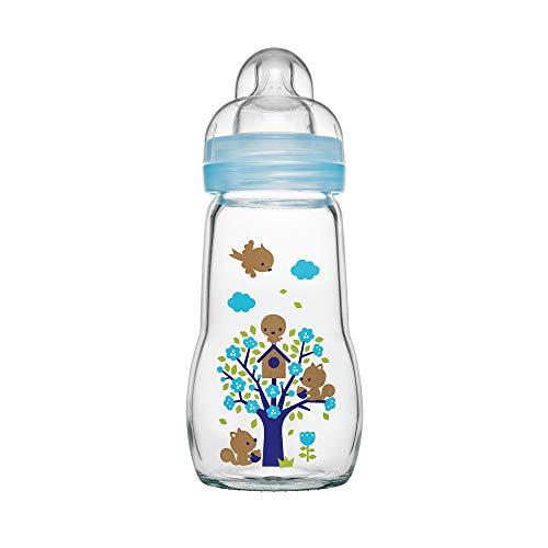 MAM Feel Good Babyflasche aus Glas (260 ml), Babyflasche mit weiter Öffnung, stabile Baby Trinkflasche mit Sauger Gr. 1, ab der Geburt, Naturmotive, blau