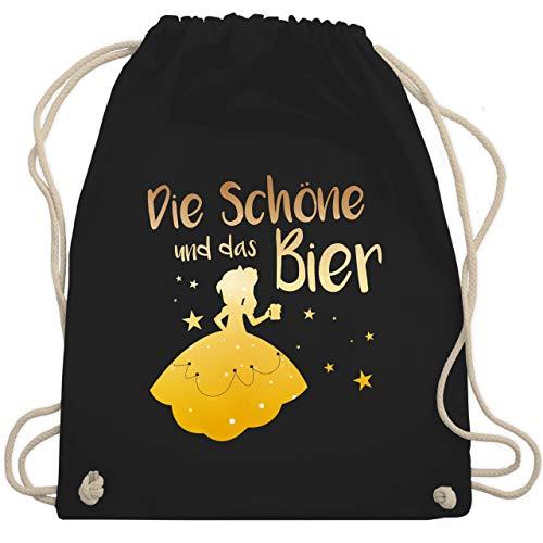 Shirtracer Typisch Frauen - Die Schöne und das Bier - Unisize - Schwarz - juterucksack spruch - WM110 - Turnbeutel und Stoffbeutel aus Baumwolle
