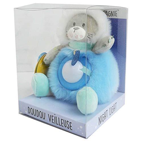 Doudou et Compagnie - Peluche Veilleuse Enfant Lion - Veilleuse Lumineuse - Jolie Boîte Cadeau - 20 cm - Bleu - Artikcool - DC3408