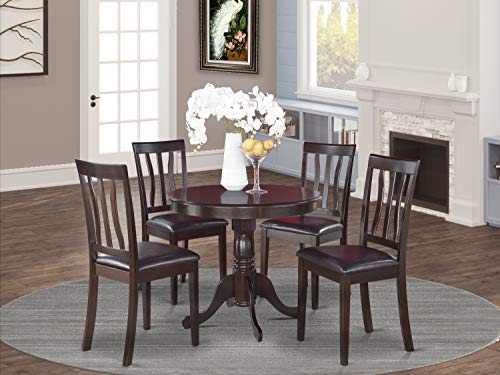 East-West Furniture dining table set- 4 Fantastic chairs for dining room - A Gorgeous wood kitchen table- PU Leather seat and Cappuccino Finnish dinner table
