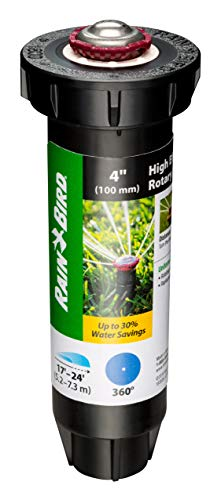 Rain Bird 22SAFPRO High-Efficiency Pro Rotary Sprinkler, 360° Full Pattern, 17  - 24  Spray Distance, 4  Pop-up Height, Black