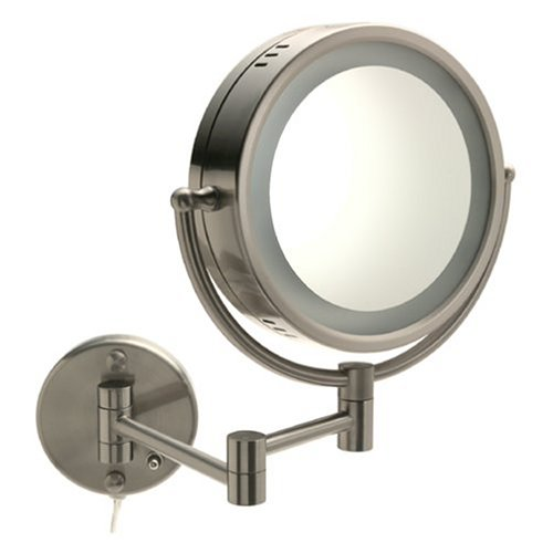 Jerdon HL65N 8-Inch Two-Sided Swivel Halo Lighted Wall Mount Mirror with 5x Magnification, 14-Inch Extension, Matte Nickel Finish