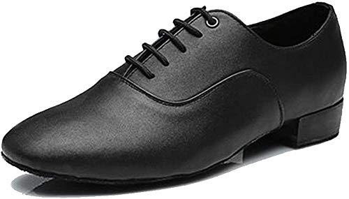 YKXLM Herren Leder Professionelle Latein-Tanzschuhe Ballsaal Jazz Tango Walzer Performance Schuhe Modell ACL-Men, Schwarz - Black 1 Heels 707b - Größe: 41 1/3 EU