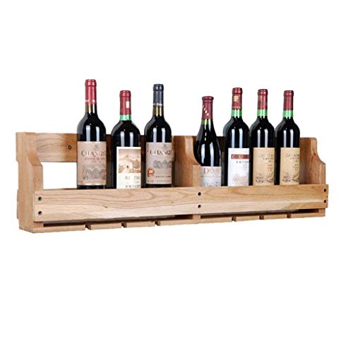 Muebles para el hogar Estante para vino montado en la pared Madera natural Roble Estante de almacenamiento para colgar en la pared multifunción Soporte para botellas de vino Colgar al revés Taza pa