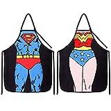 Wisolt Grembiule da Cucina Sexy novità Divertente - Superman + Wonder Woman Set di 2 Grembiuli per Coppia